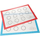 "BakeitFun Silicone Baking Mat Set With Measurements | Set of 2 | Half Sheet 16-1/2"" x 11"" 