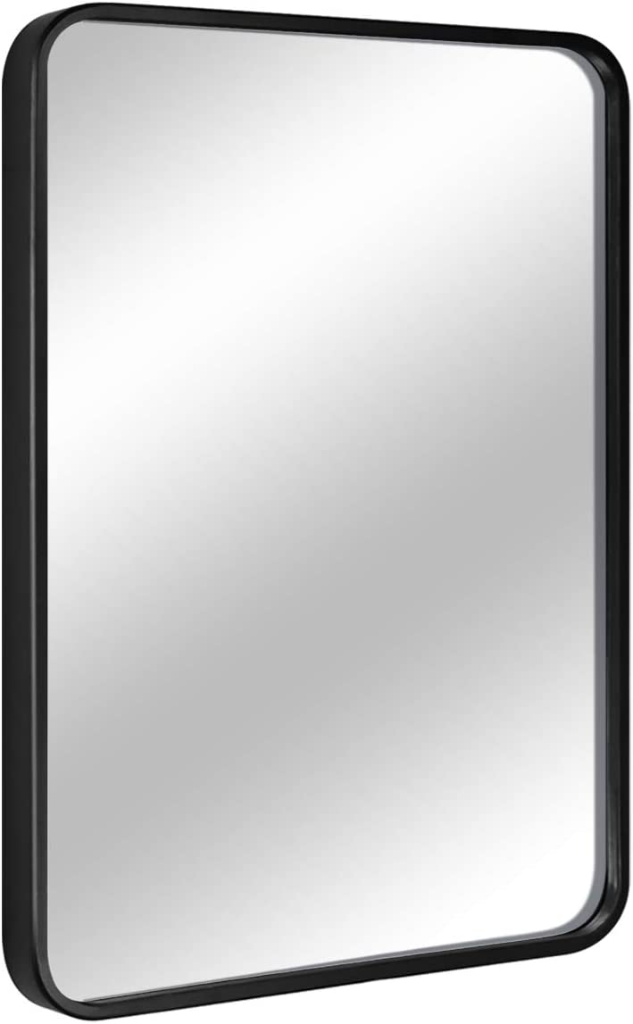 """EPRICA Wall Mirror for Bathroom, Rectangle Mirror with 1"""" Black Metal Frame for Bathroom, Entryway, Living Room & More, Hangs Horizontal Or Vertical (30 x 20"""")"""