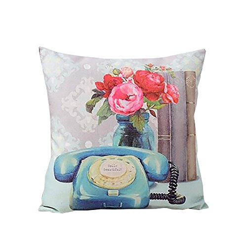 ME COO European Retro Style Camera Pillow Cover Garden Flower Series Cushion Case Oil Painting Style Throw Pillow Case Pillowcase 17 Inches 17 Inches 1 Pcs (ME-BZXB-10)