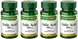Folic Acid 800 mcg Tablets Maximum Strength, 4 Bottles (250 Count)