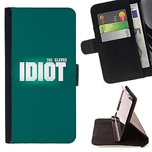 - WHITE INSPIRING IDIOT DESIGN CLEVER TEAL - - Prima caja de la PU billetera de cuero con ranuras para tarjetas, efectivo desmontable correa para l Funny HouseFOR LG G3