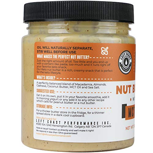 Keto Nut Butter Fat Bomb [Crunchy] - 10 Oz - Macadamia Low Carb Nut Butter Blend (1 net carb), Keto Almond Butter with MCT Oil, Left Coast Performance 6