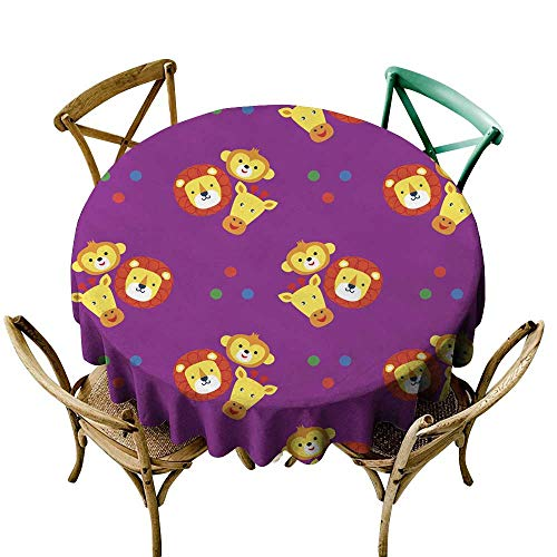 "Tablecloths Funny faces of animals on a purple background Wallpaper for children Stylized applique embroidery cute animals monkey lion giraffe Vector seamless pattern D50"",Tablecloth for Rectangle Tab"