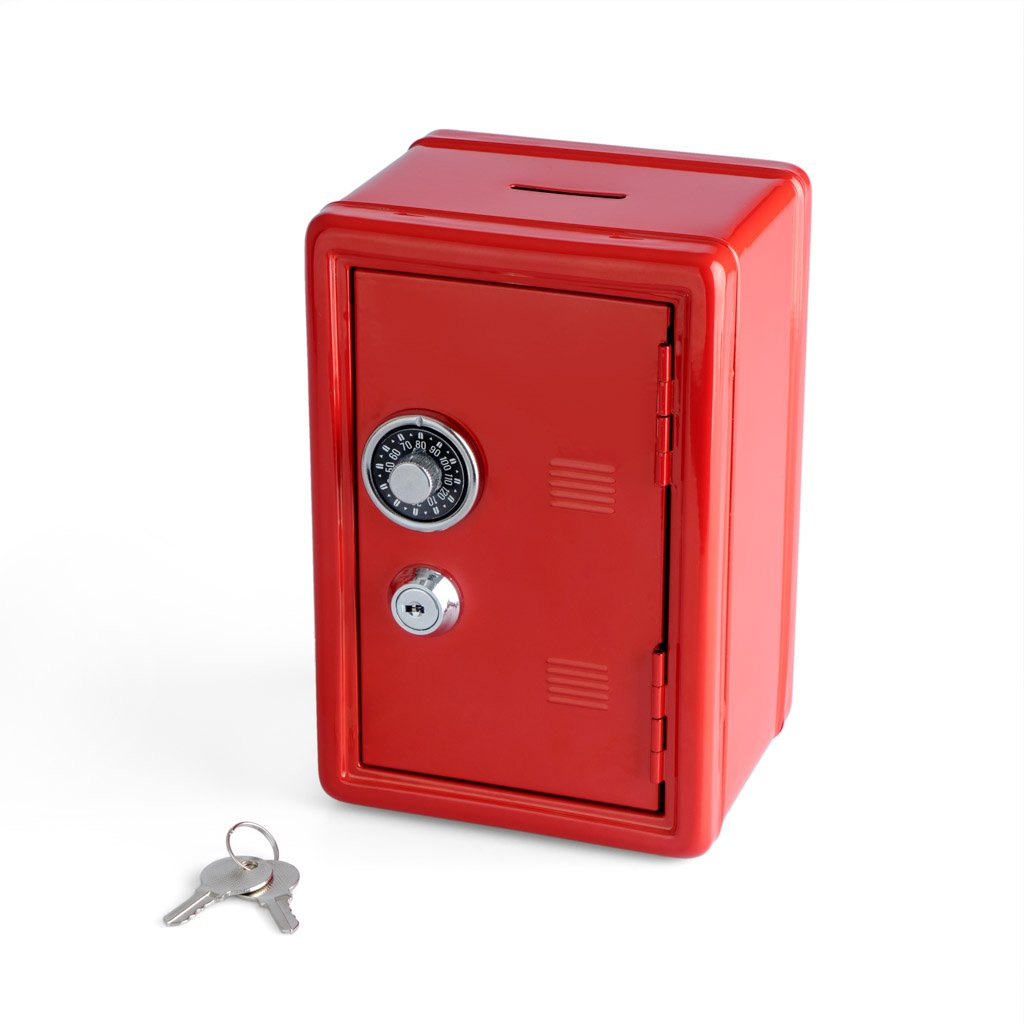 Balvi Coin bank Money Bank Blue colour Safe with double lock Key and number combination Save coins, banknotes, jewels and valuable objets Material: Iron Balvi Gifts S.L.