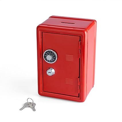 Balvi Hucha Money Bank Rojo Caja de Seguridad con Doble Cerradura combinación y Llave Guarda Monedas