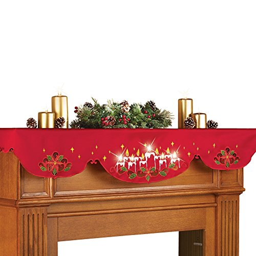 Lighted Christmas Candles Mantel Scarf Decor