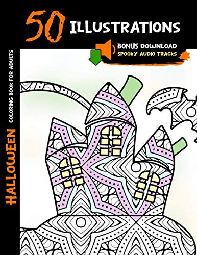 Spooky Halloween Tree Coloring Page (Halloween Coloring Book for Adults: 50 Halloween Illustrations Printed On One Side, Safe For Markers   Fun Craft Activity Gift   Stress Relieving ... Audio Tracks (Halloween Coloring)