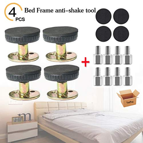 Great Deal! TooPuu 4 Pcs Adjustable Threaded Bed Frame Anti-Shake Tool Support for Room Wall and Fur...
