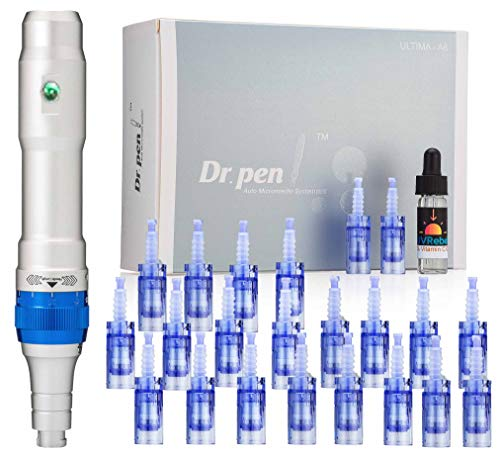 Dr. pen Ultima A6 Microneedling pen 24 Pcs Pin & Nano cartridges, 10 x 36-pin, 10 x Nano, 4 x 12-pin