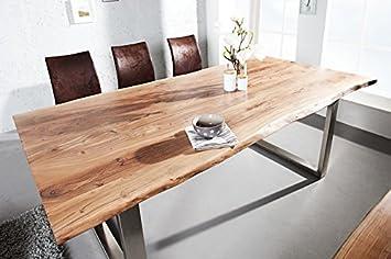 ETHNICRAFT Mesa de comedor en madera maciza de robe natural o teñido ...