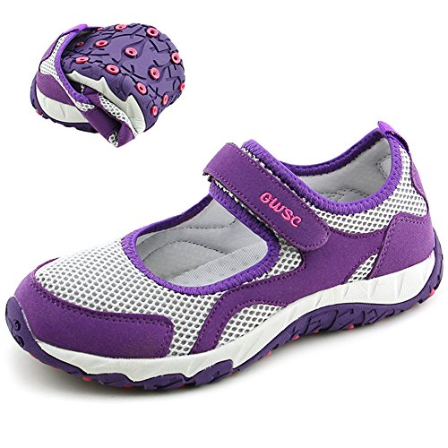 Scurtain Womens Old Aged Casual Non-Slip Walk Velcro Breathable Flats Sneaker Shoes Purple Gray qcMaHDjEZ
