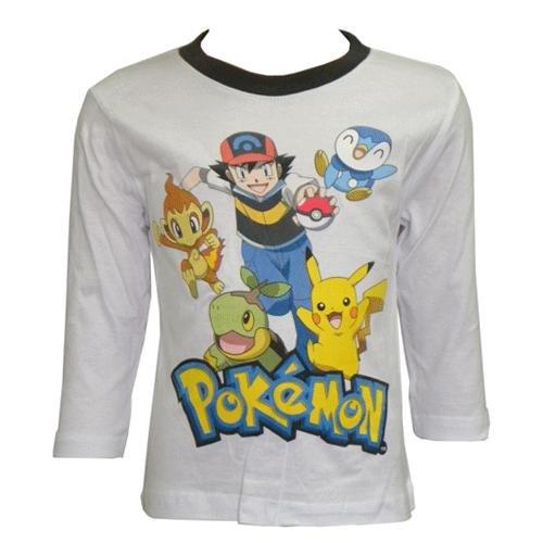 Pokèmon Camiseta de Manga Larga, Diseño de Pokemon Blanco 4 Años