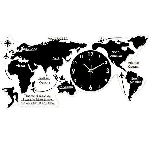 Clock Wall Sticker Creative World Map Wall Clock 3D Digital Clock Silent Non-ticking Clock for Living Room Bedroom Office, S ()