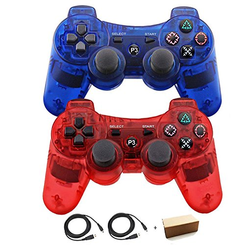 Kolopc 2 Packs Wireless Bluetooth Controllers For PS3 Double Shock - Bundled with USB charge cord (Clear Red and Clear Blue) by Kolopc
