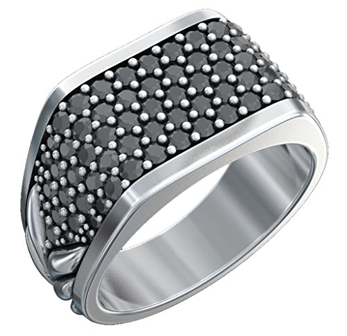 David Yurman Diamond Ring - Designer Inspired Pavé Three-Sided Ring with Created Black Diamonds Men's Women Ring Size 9 (White Gold)