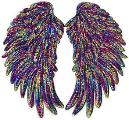 1 Pair Fashion Dazzling Color Angel Wings Sequins Patches for Clothing Iron-on Embroidered Patch Motif Applique DIY Xmas Accessories 10.5X4.7inch
