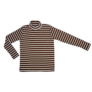 78b195d9e0d7 Polo Neck Jumper- Roll Neck Top 100% Cotton Kids Boys Girls Unisex Brown  with White Stripe Size 130cm (9 - 11 years)  Amazon.co.uk  Toys   Games