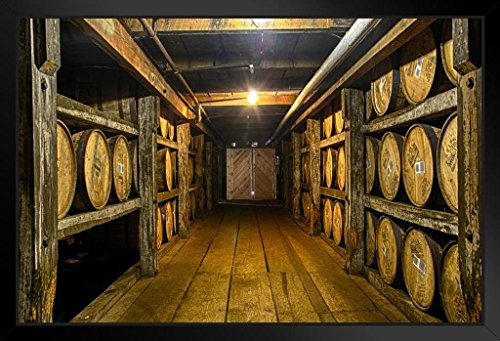 Kentucky Bourbon Being Aged in Barrels Photo Art Print by Framed Poster 20x14 inch