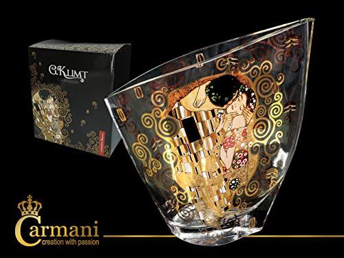 Carmani CR-841-5217, 10'' Glass Vase with Painting Design, Vintage Bud Vase with Gustav Klimt The Kiss Decoration, Unique Assimetric Flower Jar, Wedding Gift