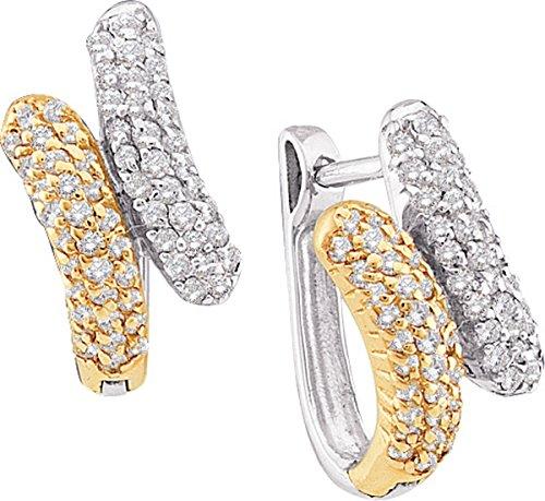 14kt Yellow Gold Womens Round Diamond Two-tone Bypass Huggie Hoop Earrings 1/2 (14kt 2 Tone Diamond Earrings)