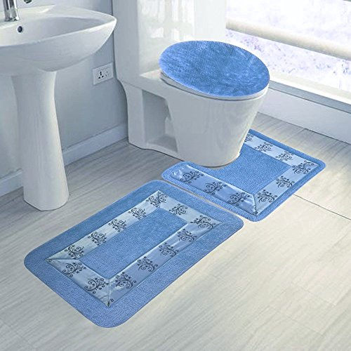 Elegant Home 3 Piece Embroidery Bathroom Rug Set Bath Rug, Contour Mat, & Lid Cover Non-Slip With Rubber Backing #5 (Light Blue)