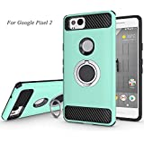 Newseego Compatible Google Pixel 2 Case with Armor Dual Layer 2 in 1 with Extreme Heavy Duty Protection and Finger Ring Holder Kickstand Fit Magnetic Car Mount for Google Pixel 2-Green