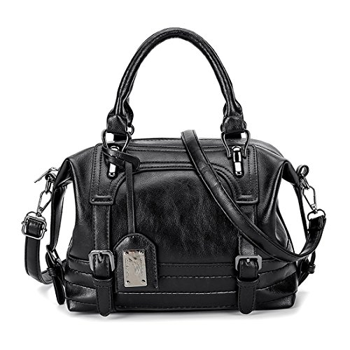 Handle Purse Alovhad Shoulder Crossbody PU Handbags Vintage hobo Women Leather Black Bag Top Tote Retro Bags Shoulder rqPHrwnx