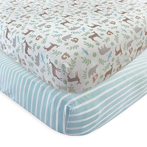 Touched by Nature 2 Piece Organic Fitted Crib Sheets, Forest, One Size