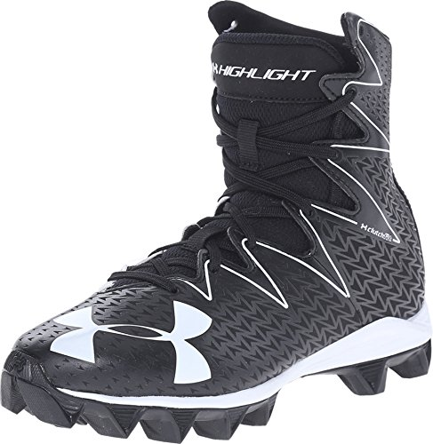 Under Armour Kids Boy's UA Highlight RM Jr Football (Little Kid/Big Kid) Black/White Sneaker 5 Big Kid M