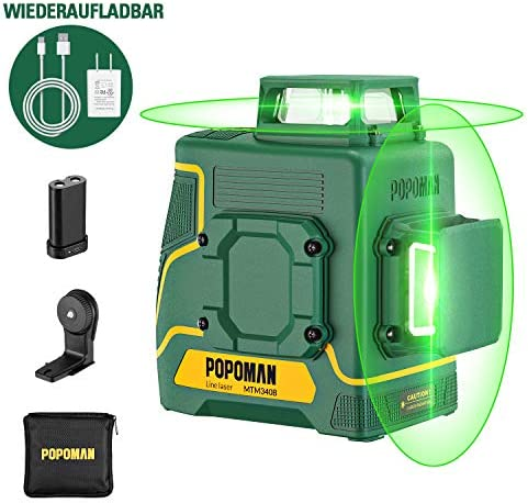 POPOMAN Laser Level Green 2×360 , Line laser rechargeable with Lithium battery, Self Leveling, Pulsed mode, Magnetic Auxiliary Supporting Bracket, IP54, Carry bag Include – MTM340B