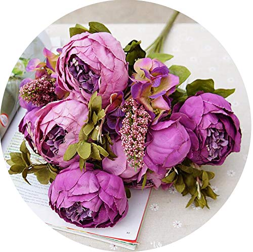 1Bunch European Artificial Peony Decorative Party Silk Fake Flowers Peonies Hotel,E