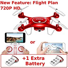 Syma X5UW (+Extra Battery) 720P HD Wifi Camera FPV Drone - Touchscreen Flightplan & Gyro Control with App - Altitude Hold - iOS Android - RC Quadcopter