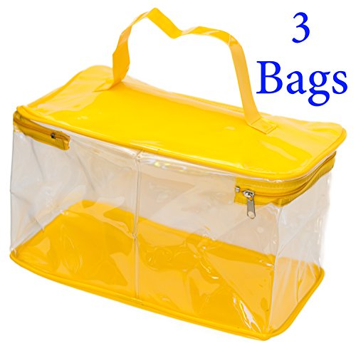 """Clear PVC Vinyl Zipper Bags For Cosmetics Travel Plastic Transparent Bag for Toys Handbag To Store First Aid Essentials The Best Option To Store Stuff 9.8""""L X 5.9""""W X 5.5""""H. Includes 3 Bags"""