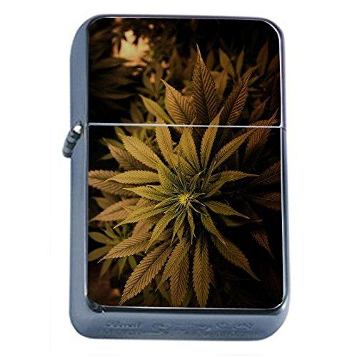 Vintage-Marijuana-Flip-Top-Dual-Torch-Lighter-S3-Smoking-Cigarette-Smoker-420-Weed