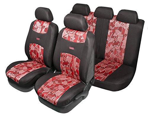 START juego completo cubiertas del asiento Negro Mosaico Rojo Airbag Compatible coche universal