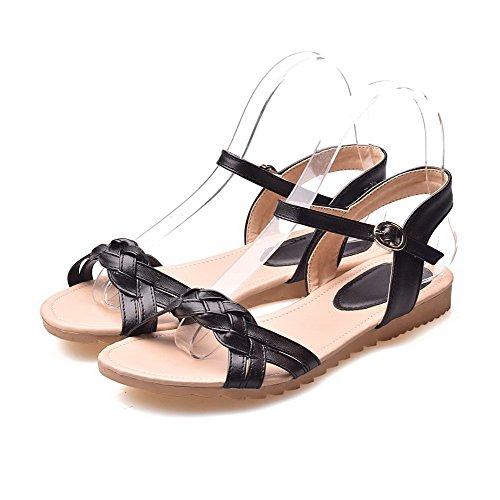 AalarDom Mujer Puntera Abierta Mini Tacón Pu Sólido Sandalias de vestir Negro-ZHI