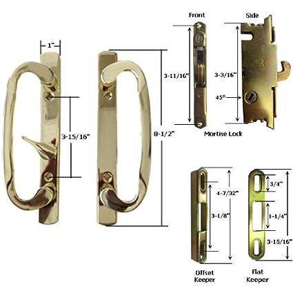Kit de asa STB Patio puerta corredera de cristal con cerradura y madera de olivo,