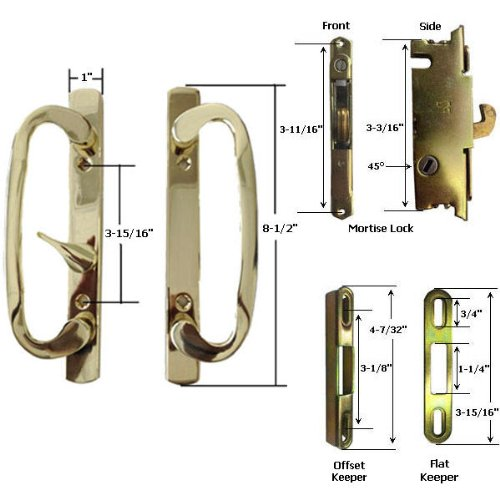 STB Sliding Glass Patio Door Handle Kit with Mortise Lock and Keeper, Brass-Plated, Non-Keyed