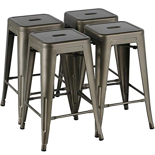 Yaheetech 24 Inches Metal Bar Stools Kitchen Counter Height Bar Stools Indoor/Outdoor Stool Patio Furniture Modern Stackable Barstools Dining Chair, Gun Metal (Stool Bar Stackable)