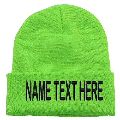 Caprobot ID Custom Embroidery Personalized Name Text Ski Toboggan Knit Cap Cuff Beanie Hat - Lime Green ...