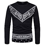 kaifongfu Men's Top,Autumn African Print Long Sleeved T-Shirt Top Round Collar Sweatshirts Top Blouse(Black,XXXL)