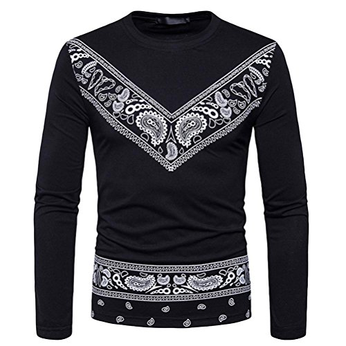 kaifongfu Men's Top,Autumn African Print Long Sleeved T-Shirt Top Round Collar Sweatshirts Top Blouse(Black,XXXL) by kaifongfu-mens clothes