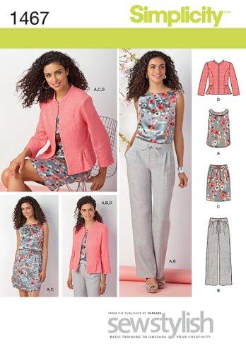 Simplicity Sewstylish Pattern 1467 Misses Miss Petite Top, Jacket, Pull-on Pants, Skirt Sizes 8-10-12-14-16-18