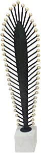 Benjara Decorative Metal Feather Stand, Black and White Sculpture, 5 x 3 x 23 inches