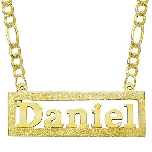 14K Yellow Gold Personalized Name Plate Necklace - Style 6 (20 Inches, White Pave Figaro Chain) 14k Yellow White Gold Nameplates