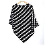 Amknn Striped Nursing Breastfeeding Scarf Baby Car Seat Canopy Nursing Poncho (Black Narrow Stripes)