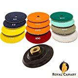 Diamond Polishing Pads - 4 inch Wet/Dry 13 Piece Set (12 Pads + 1 Rubber Backer) for Granite Stone Concrete Tile Marble Surfaces, Strong Velcro, Durable and Flexible - Smooth Countertop - Royal Canary