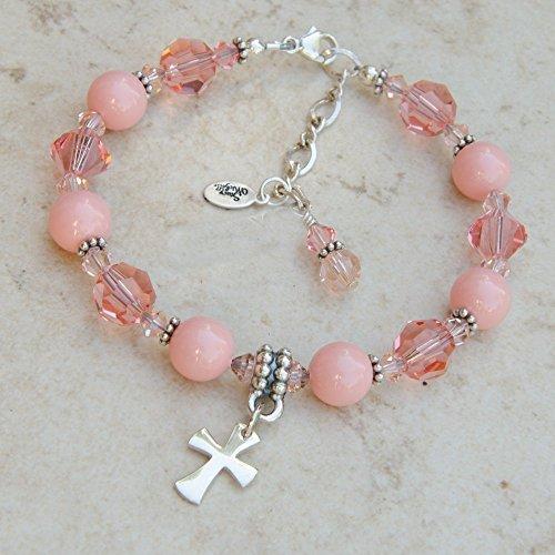 Cross Charm Bracelet with Swarovski Crystals, Simulated Pearls and Sterling Silver Charms (Sterling Swarovski Rosary Bracelets)