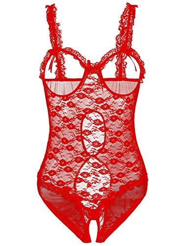 b8db5b0f57ad6 Amoretu Womens Lingerie Sheer Cupless Teddy Crotchless Lace Bodysuits Red