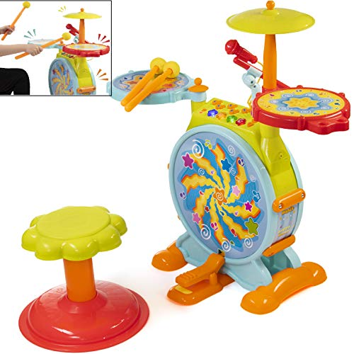 Prextex Kids' Electric Toy Drum Set Working Microphone Lighhts and Sound Bass Drum Pedal Drum Sticks with Little Chair All Included